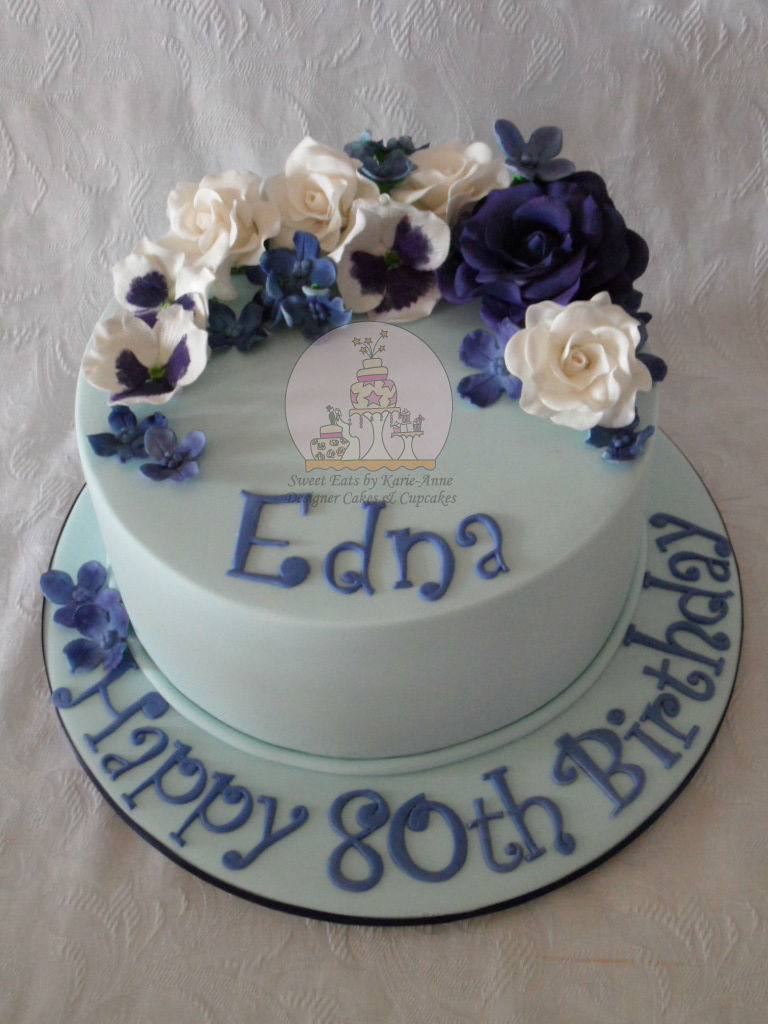 Blue & White themed 80th Birthday Cake