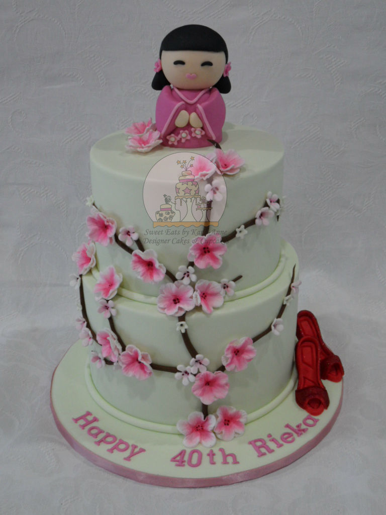 Japanese themed Cherry Blossom 40th Birthday Cake