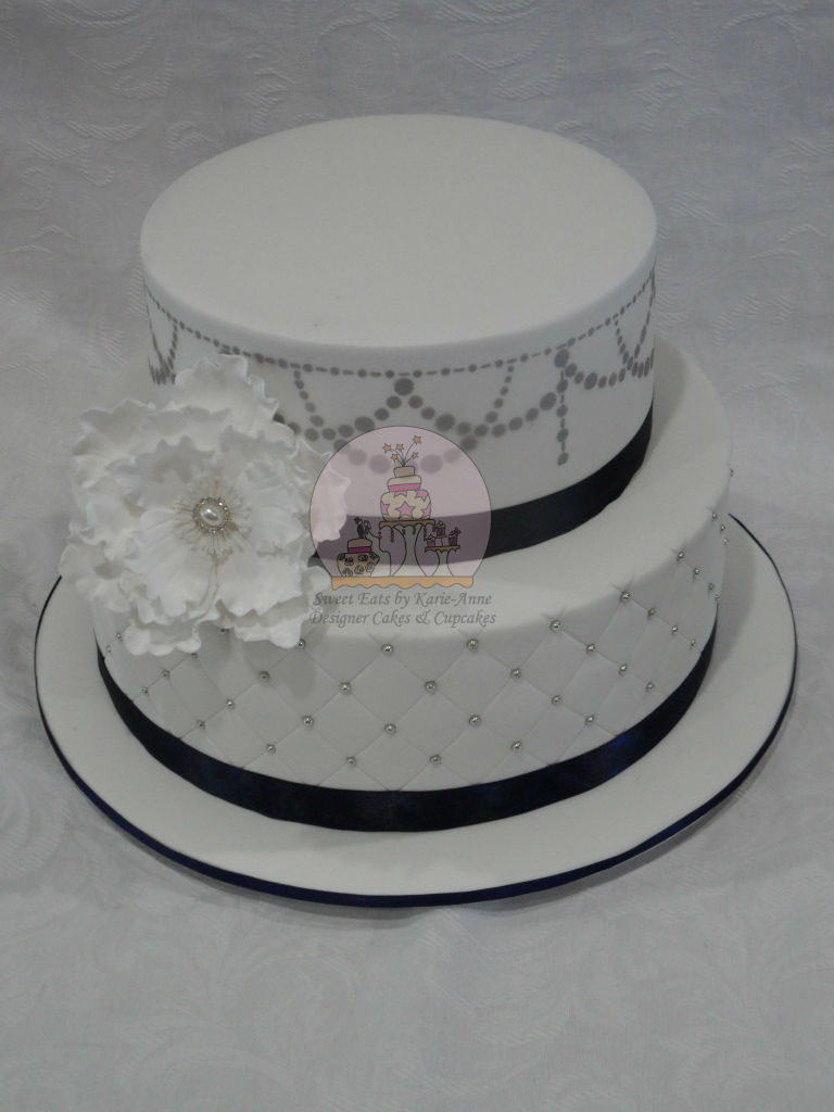 Navy & Silver themed Wedding Cake