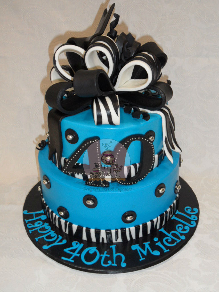 Blue, Black and Zebra Print 40th Cake