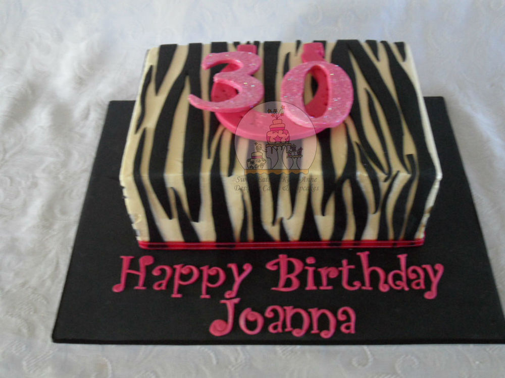 30th Zebra Print Cake with horseshoe for luck.