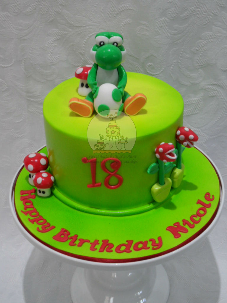 Yoshi Themed 18th Birthday Cake