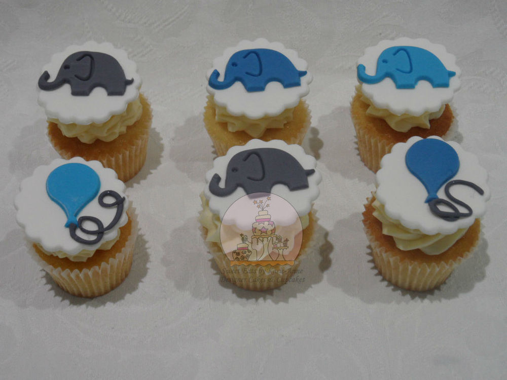 Elephant Topper Christening Cupcakes