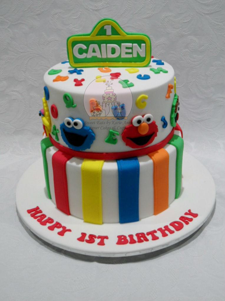 Sesame Street theme 1st Birthday Cake