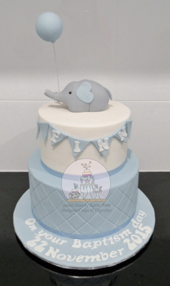 Elephant Topper Baptism Cake with Bunting