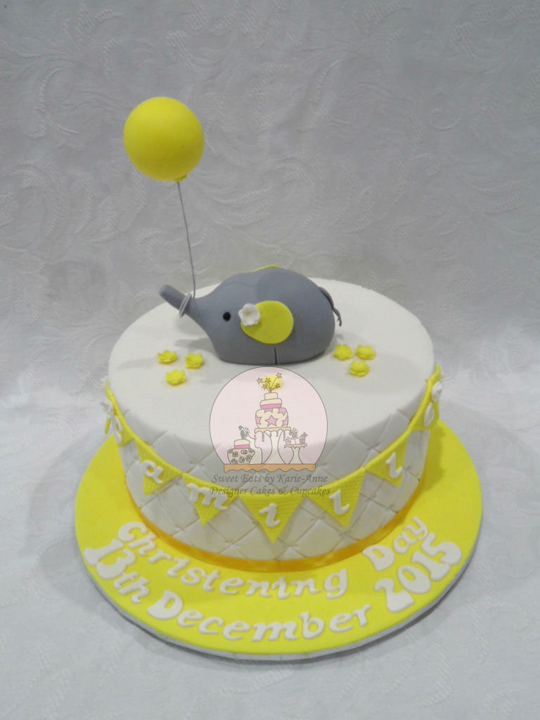 Yellow & Cream Elephant topper Christening Cake