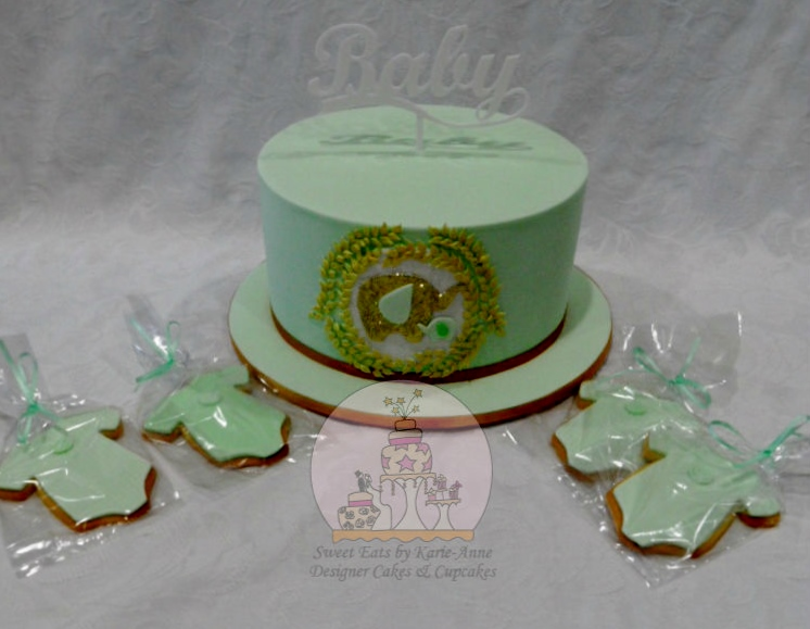 Glitter Elephant themed Baby Shower Cake & Cookies