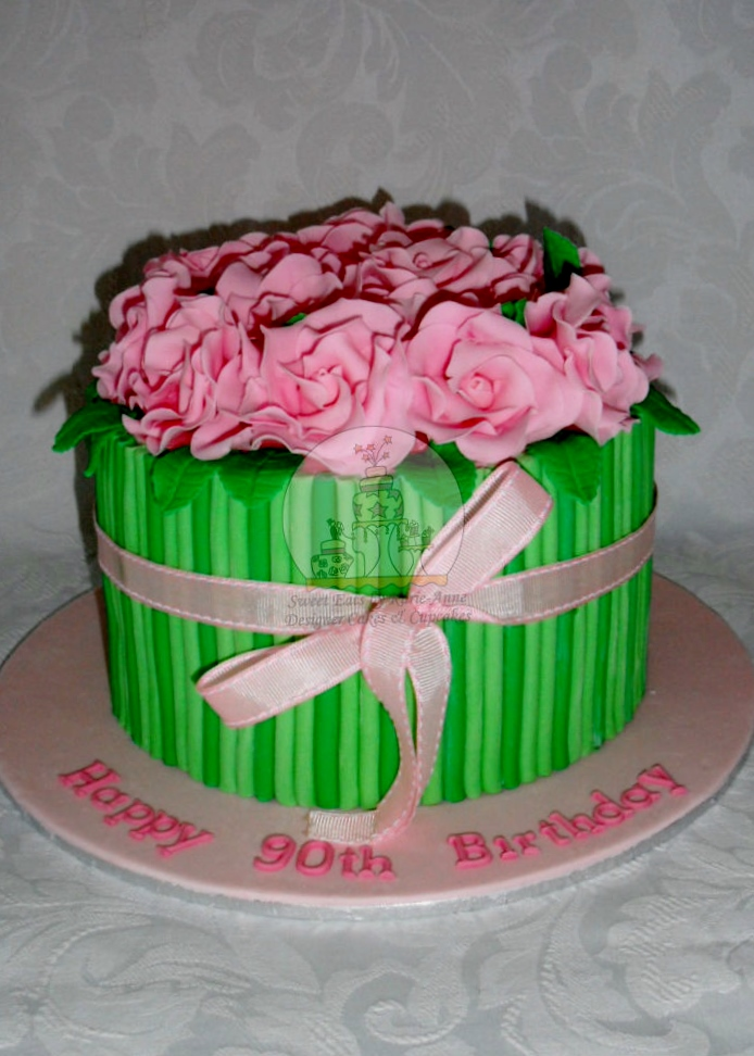 90th Birthday Bouquet of Roses Cake