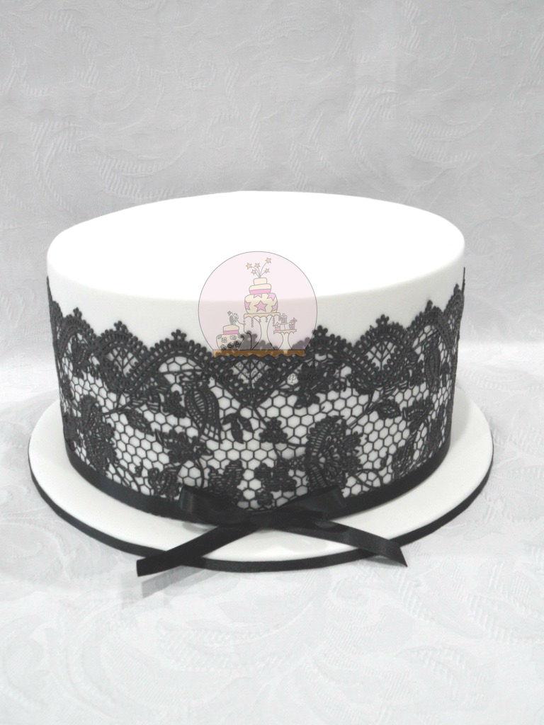 Elegant Black Lace Cake