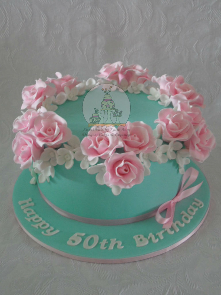 Teal 50th Celebration Cake with Roses and Hydrangeas
