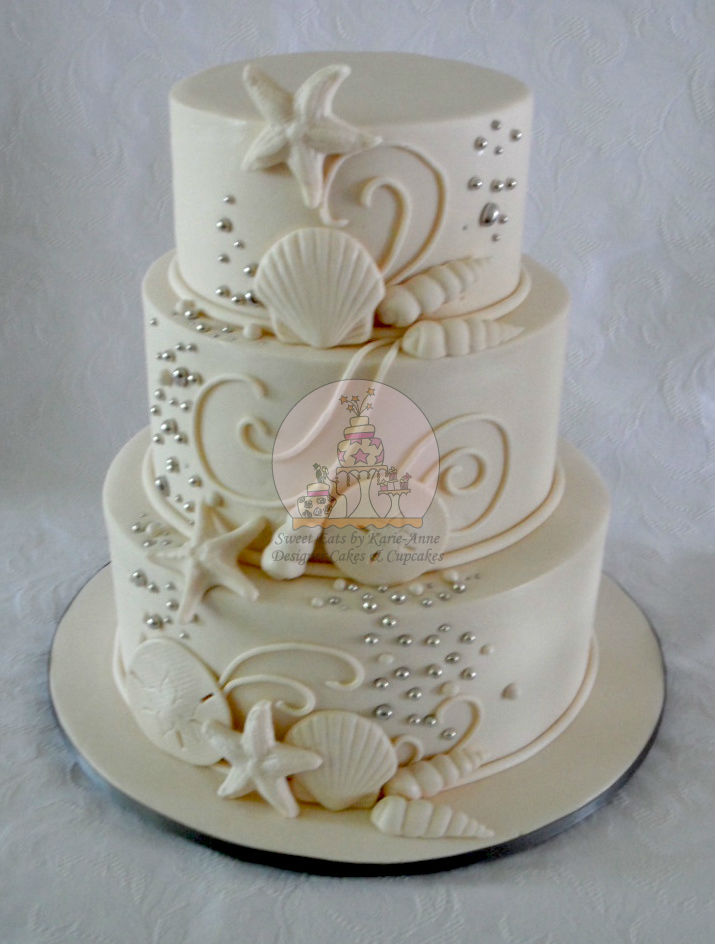 Beach Themed Ivory Wedding Cake