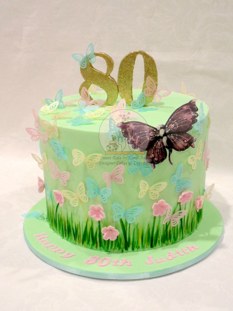 80th Butterfly themed Birthday Cake