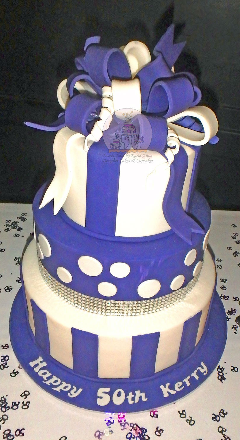 Loopy Bow Doti Stripe 50th Birthday Cake