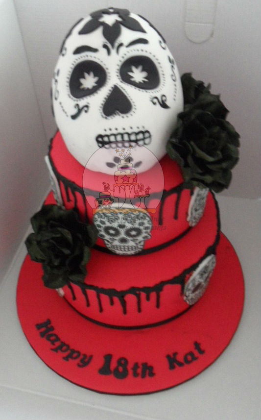 Day of Dead themed 21st Birthday Cake