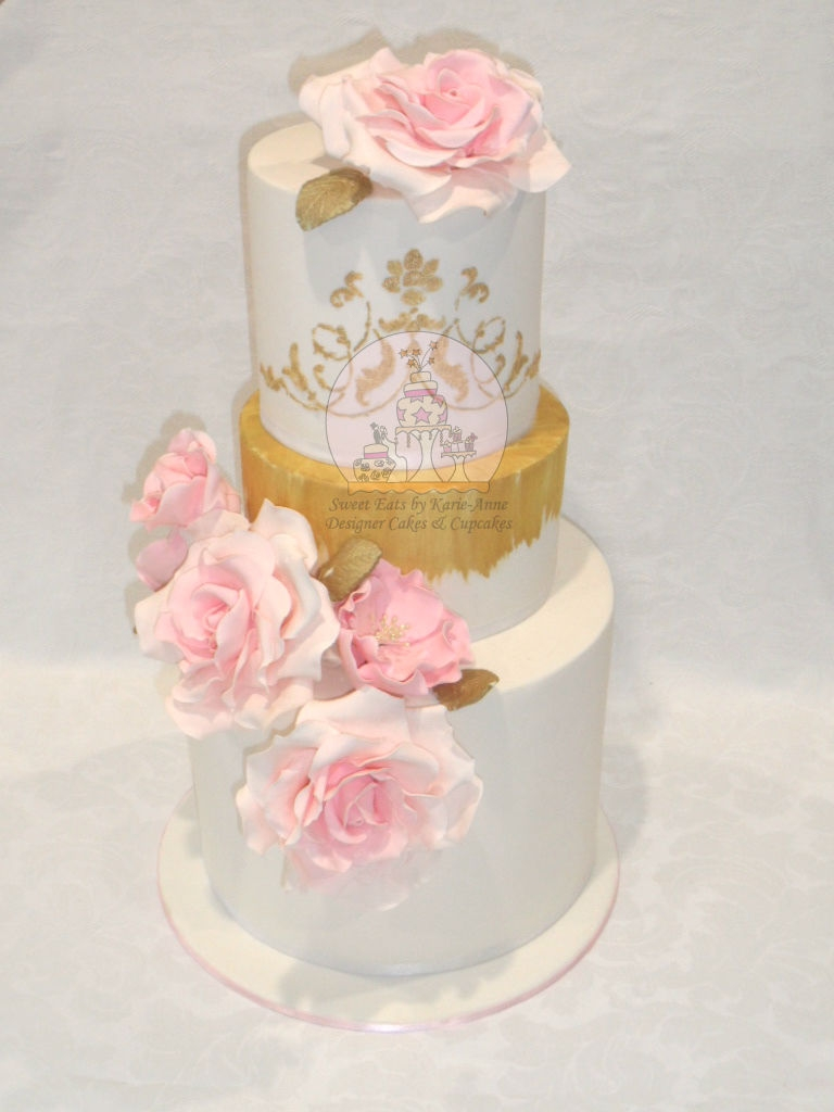 White & Gold Wedding Cake with Pink Roses