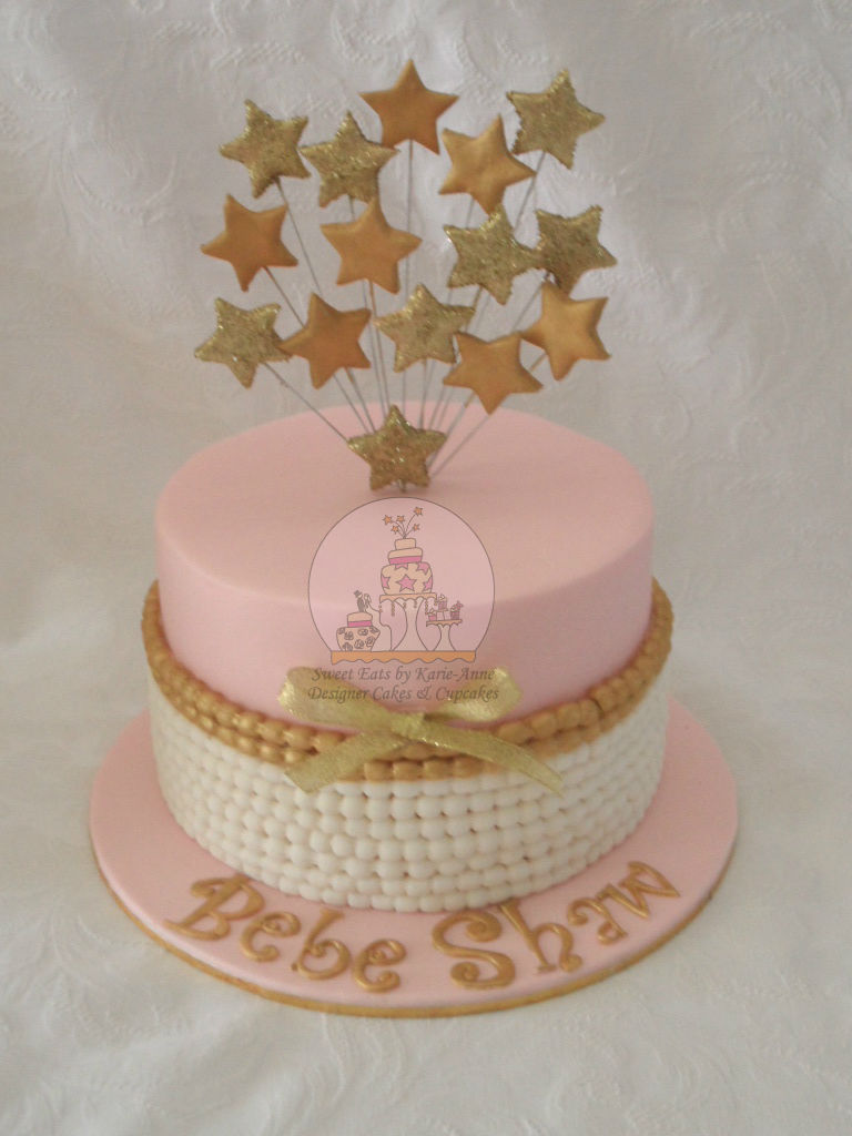 Vintage Gold & Pink Baby Shower Cake