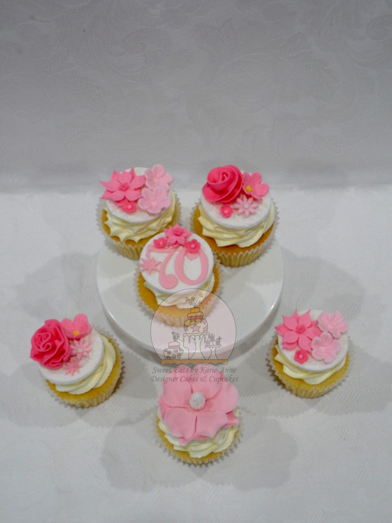 Pink floral 70th Birthday Cupcakes