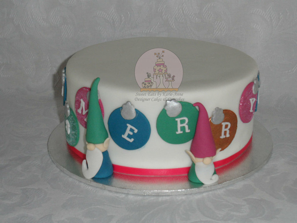 Bauble & Elves Christmas Cake
