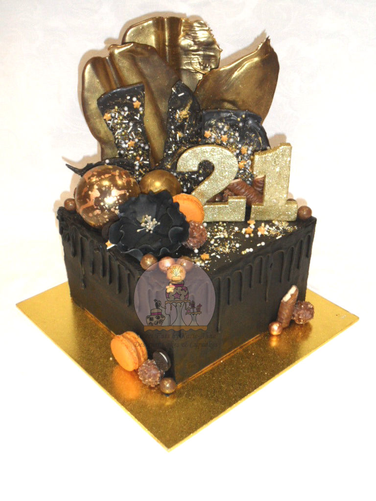 Black & Gold Drippy 21st Birthday Cake