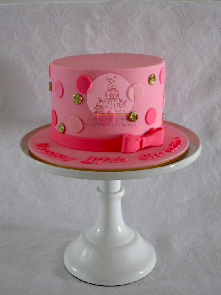 Pink polka dots Birthday Cake