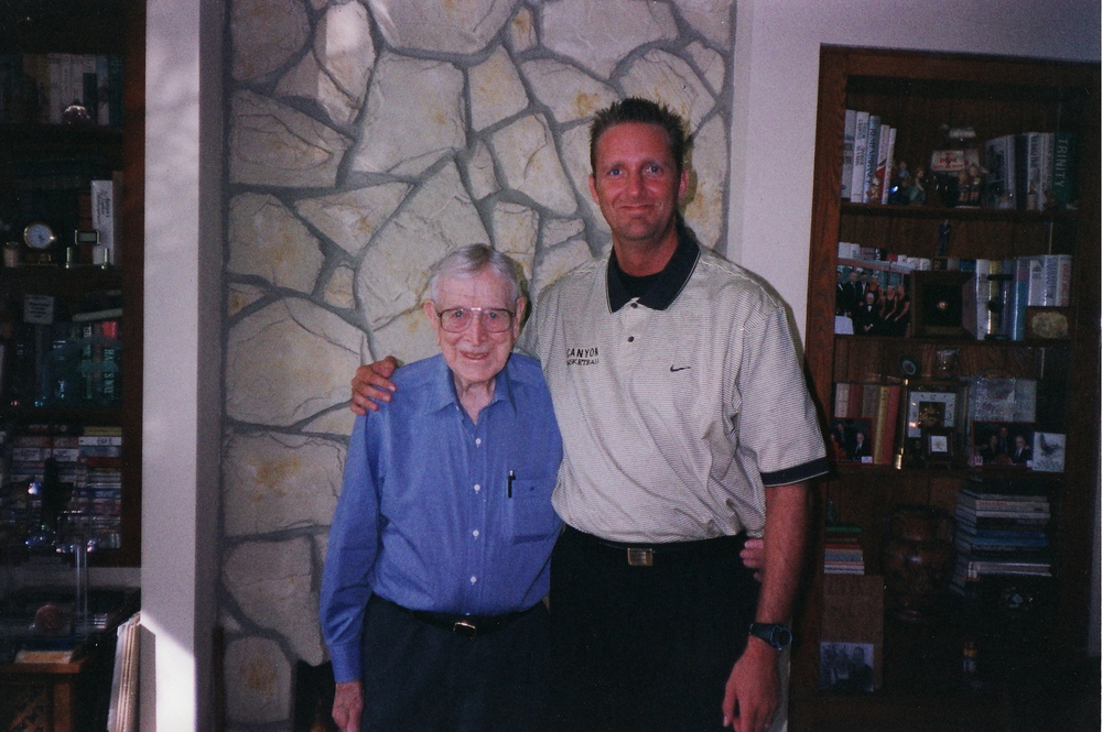COACH WOODEN AND MYSELF AT HIS CONDO!  ONE OF THE GREATEST MOMENTS OF MY LIFE!!!!