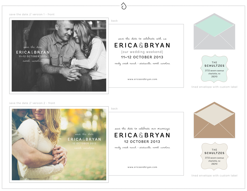 Design preview for Erica + Bryan's save the date element in their suite-hearts package.