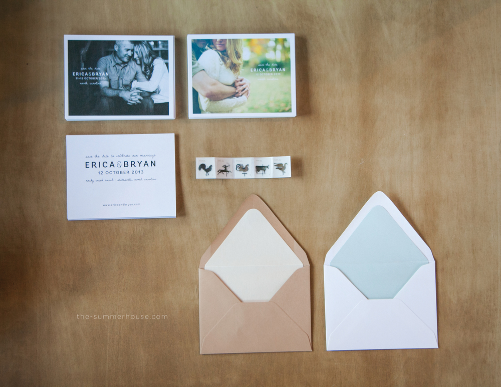 The final product, printed cards for Erica + Bryan's save the date in their suite-hearts package.  24pt matte, 4/1, offset press combined with a kraft paper and snow white envelope, lined with stardream metallics.