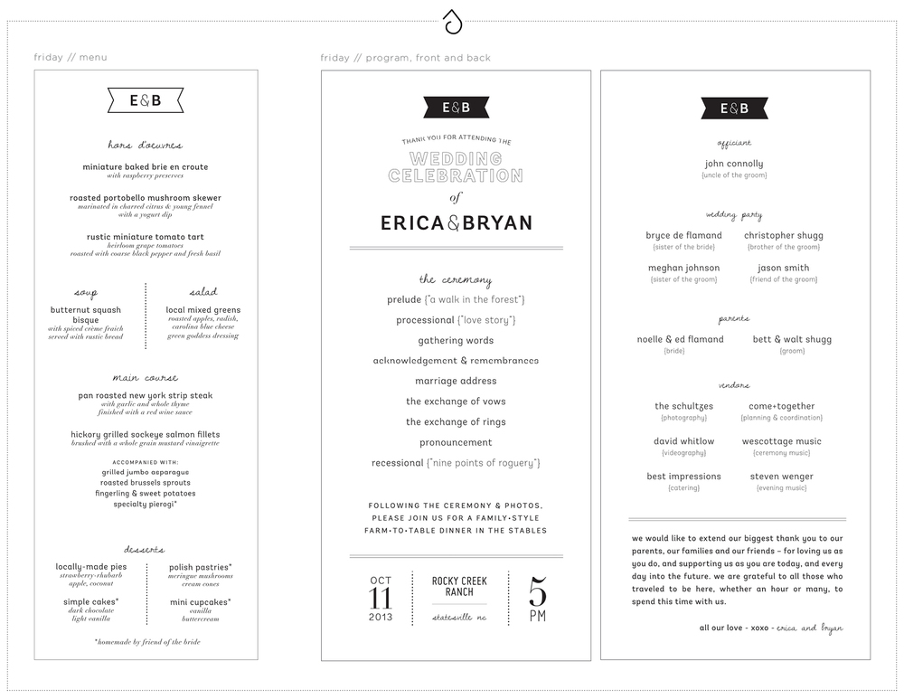 Friday Dinner Menu and Friday Ceremony Program - Erica & Bryan 10.11+12.13