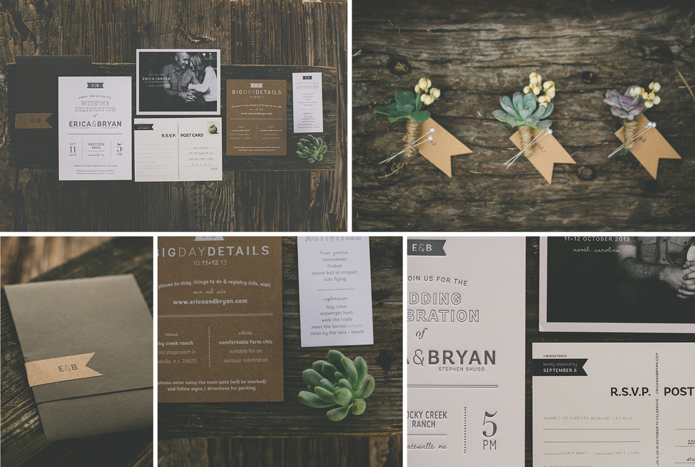 Invitation Suite and DIY Bouts - Erica & Bryan 10.11+12.13