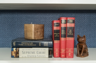 Bookcase is backed with  Thibaut Wallcovering, Sachon, Navy