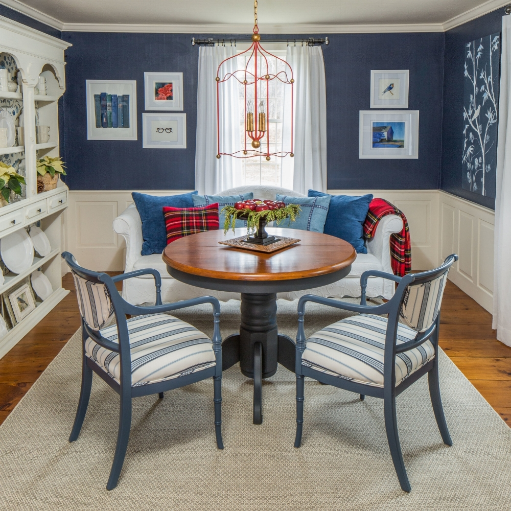 """""""Built-in"""" was discovered at Ramble Market and spruced up with a little paint and wallpaper from  Pierre Frey.  Light by  Currey and Co. , Pillow fabric by  Manuel Canovas , Chair fabric by  Ralph Lauren , Rug by  Annie Selke"""
