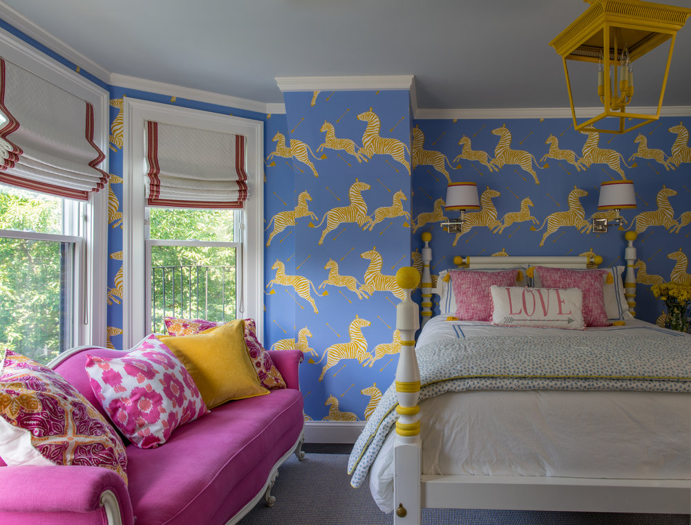Wallpaper by  Scalamandre , Lantern by  Visual Comfort .