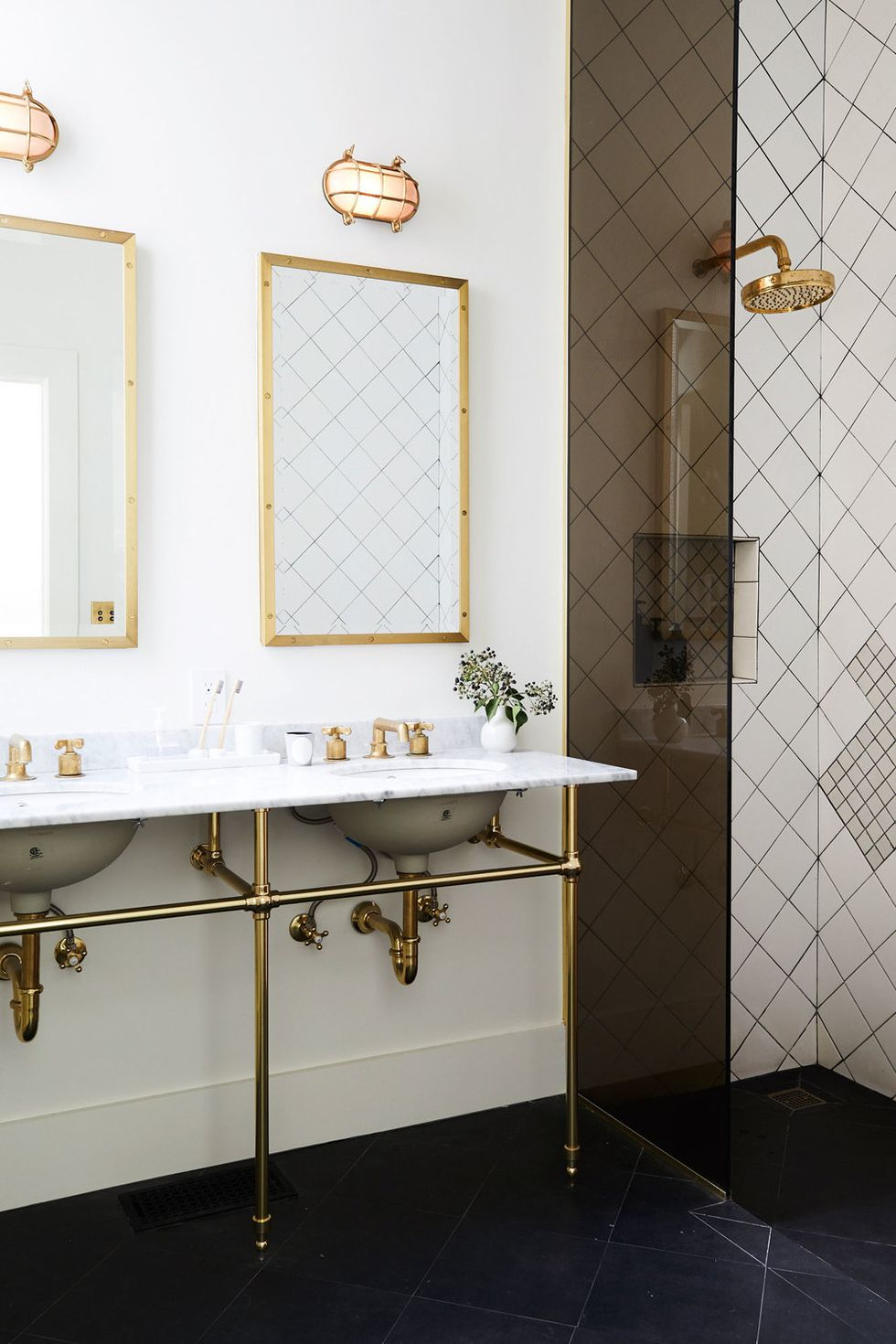bathroom trend 2019 exposed hardware