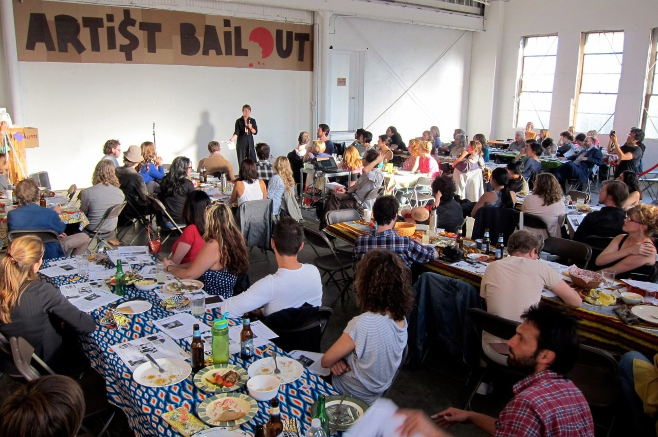 LA's Artist Bailout Dinner — another evening affair we admire. How it works?  Entry for diners includes a meal and a ballot.  During dinner, artists present projects that are in need of funding, and diner vote for the projects they think are the bomb.  Two of the artists left at the end of the night with big cardboard checks.