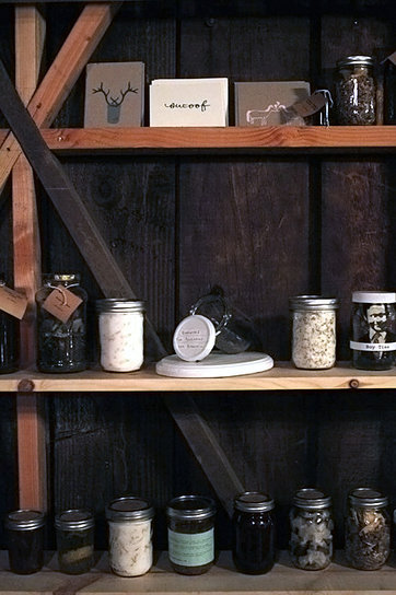 Wonder what else has gone down in our magic barn?  Our home-girls at Swear on Our Friendship hosted The Cantry here last winter.  It was fun to see an apothecary sprout in our back yard, lots of LA's finest strolling through, and left-overs — lots of leftovers.