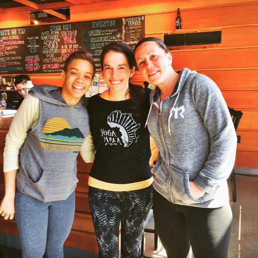 Vermont co-hosts-turned-friends Ashley Gunn (left) and Katie Gillespie (right) at a recent beer tasting-yoga-class combo.