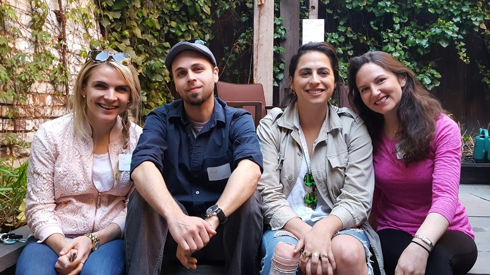 "From left: Sarah, Paul, Rebecca, and Hallie, together at our Write_On NYC event in April. Says Paul: ""I had a meeting with my grief counselor and when I showed her the pic she smiled and said, 'Who would ever think these are the faces of grief?'"""