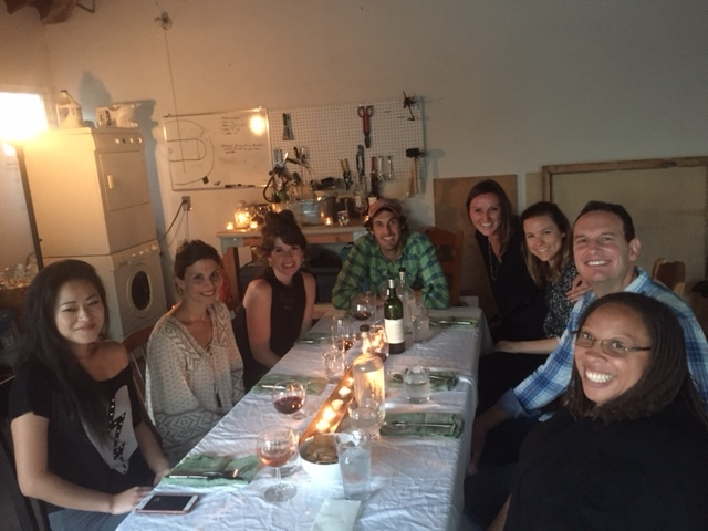 Hosts Brett and Jamie (center) at their first dinner, July 2016.