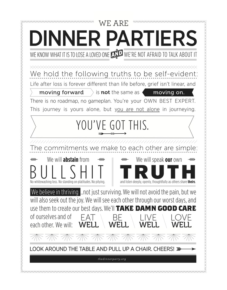Our Dinner Partier manifesto / designed by Christina Tran