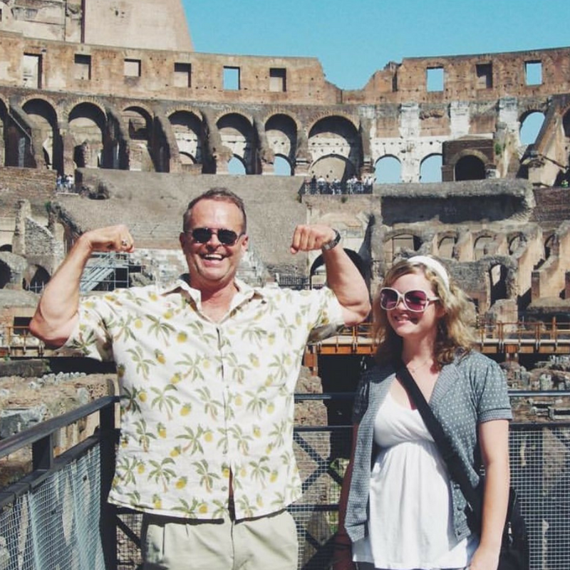 Courtney | Los Angeles    What's your dad's name?  Aaron   Is there anything else that you want to share or that you wish we had asked you?  In my photo is my dad and I in Rome at the coliseum. One of our many travel adventures. It shows him perfectly...full of charisma (and a little of himself, haha!), happy, showing me the world. He was my own gladiator.