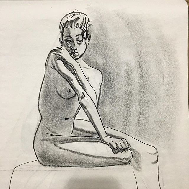 Back at it 🤗I'm also designing full-time again. Lots of changes lately, but expect to see more from me. . . #drawing #lifedrawing #figuredrawing #conte #artistworkout #art