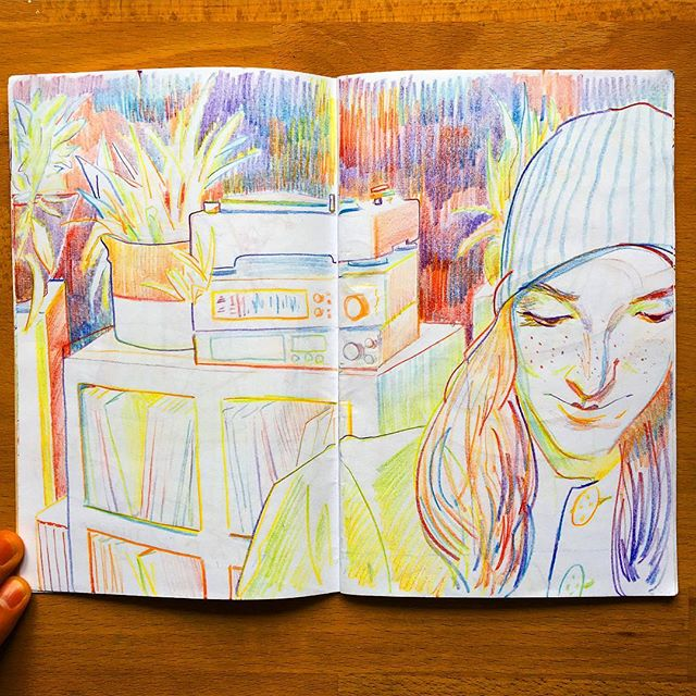 easy like sunday morning. ☕️ . . . . #drawing #sketch #sketchbook #art #artistworkout #rainbowpencil