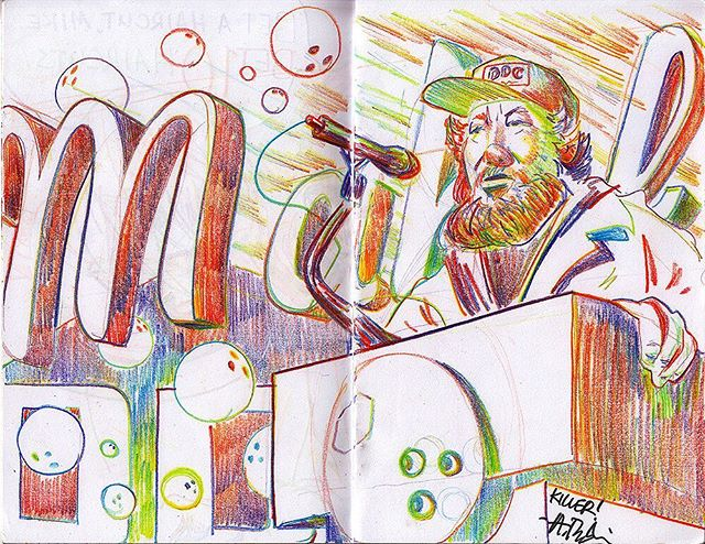 I drew the amazing @draplin in Cleveland the other day. Such a great time, thanks for coming man! I'll send ya a high res scan of this if you want. Also shout out to @okpants for puttin on the show! 🤘 . #draplin #ddc #drawing #sketch #rainbow #art #artistworkout #illustration
