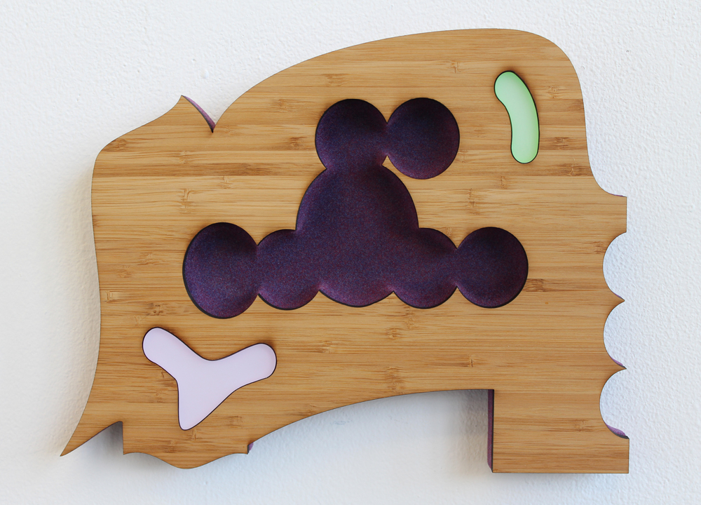 Acrylic, Flocking, Bamboo and MDF 11 1/2 X 8 7/8 X 1 Inches