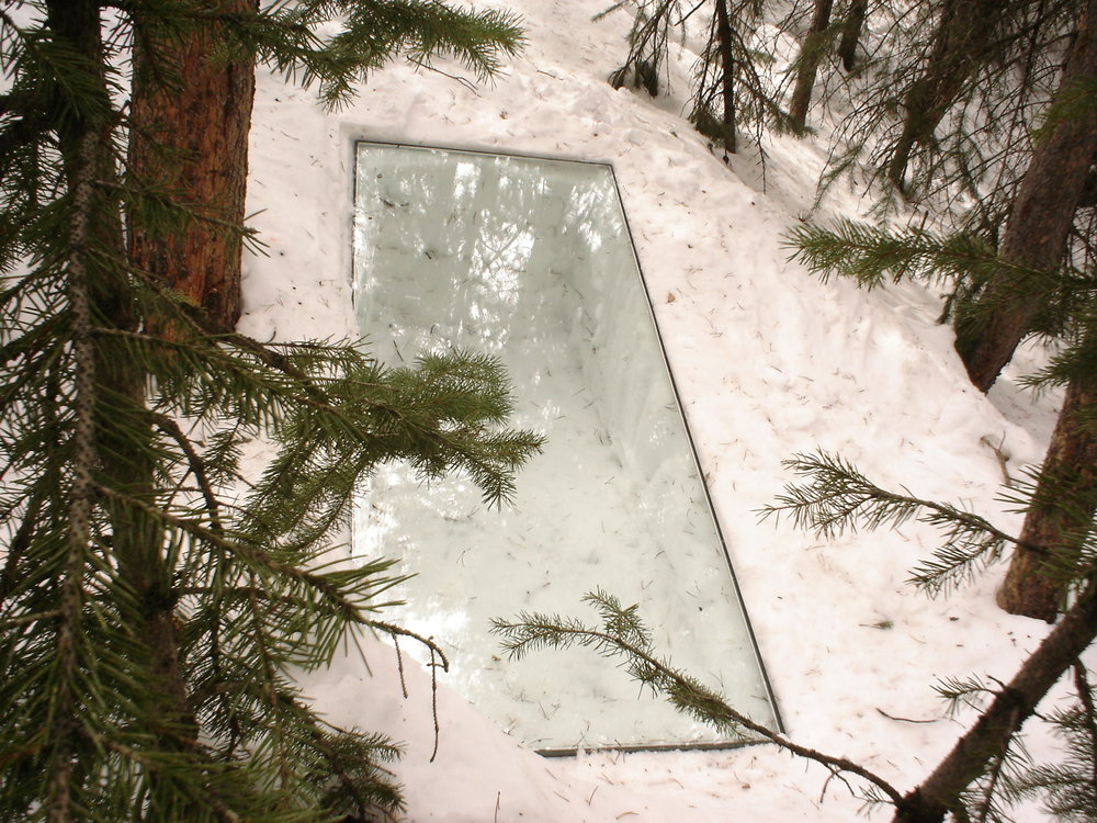 glass inset into snow, Winter Park Colorado,  2007