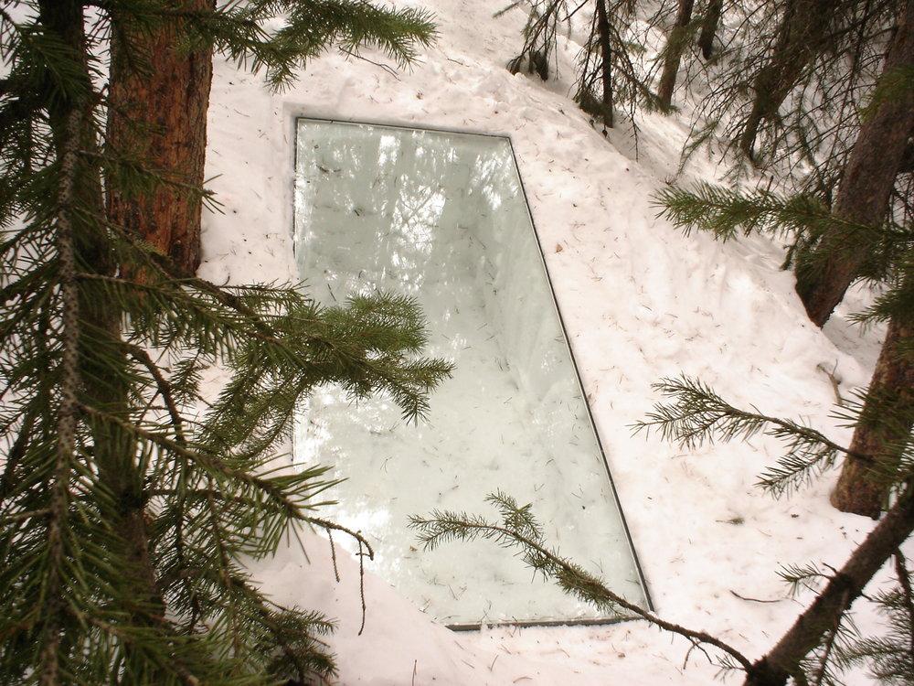 glass inset into snow, Winter Park Colorado,  2007