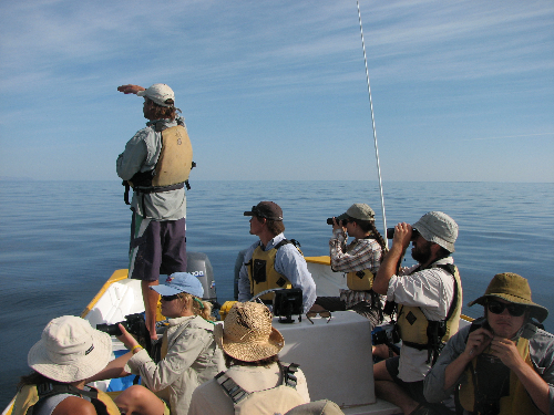Tad and group in panga, E of Rasa.JPG