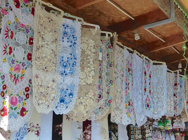 Beautiful Hungarian hand made cut work, embroidery and crochet.  The women sometimes take as much as two years to complete just one table runner!  Yes, I am the proud owner of one of these!