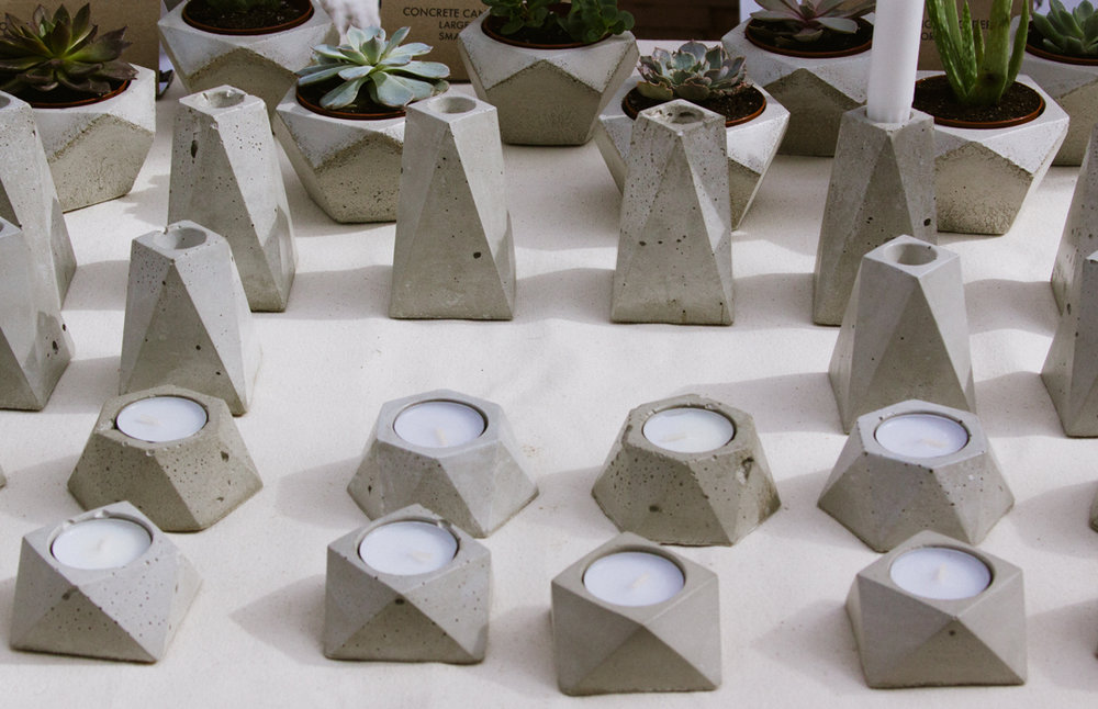 Foundaciun cement planters and candle holders