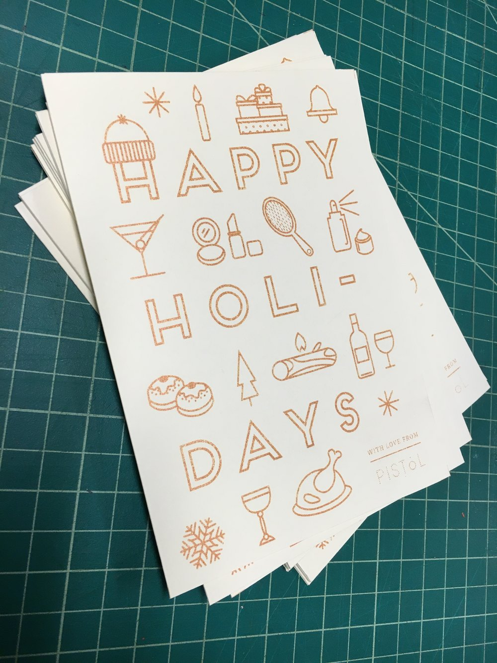 Holiday Card Design and Screenprint for Pistol PR. New York, NY